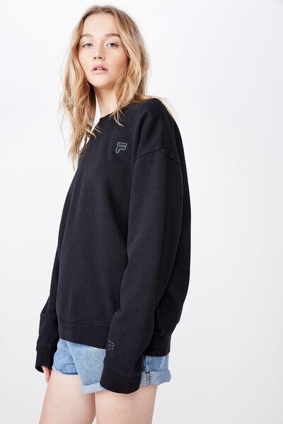 Fila Lcn Washed Crew Neck Sweater, WASHED BLACK