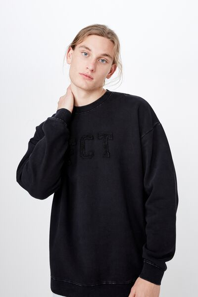 Embroidered Fct Oversized Crew, WASHED BLACK