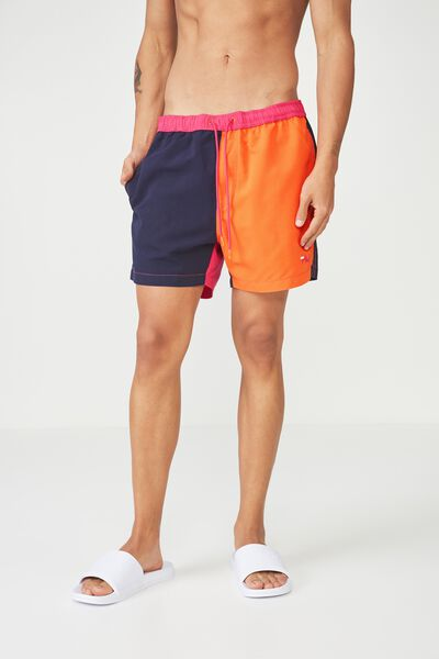 Fila Lcn Colour Block Swim Short, NAVY/ORANGE/PINK