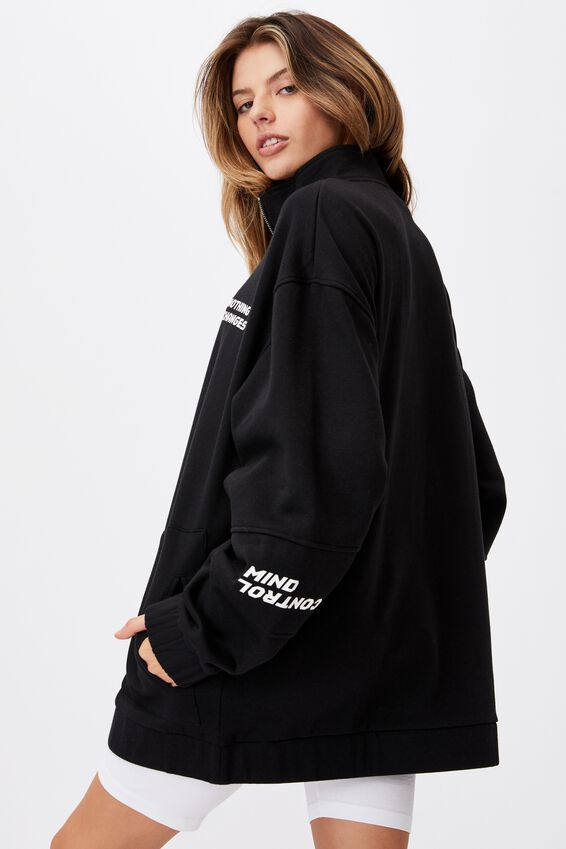 Oversized Qtr Zip Graphic Crew, BLACK/NOTHING CHANGES