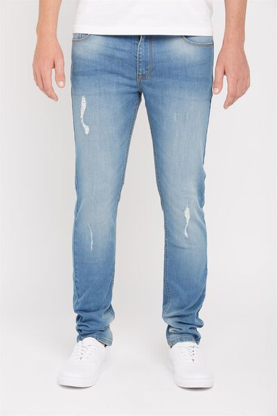 Slim Straight Denim Jeans, VAPOR BLUE DESTROY