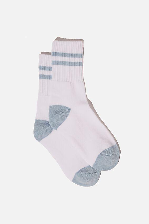 Retro Sport Sock, WHITE SKYWAY BLUE STRIPE