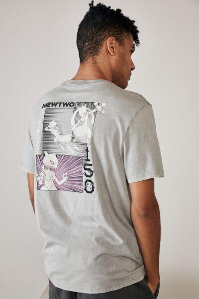 Regular Gaming T Shirt, LCN POK WASHED GREY/POKEMON MEWTWO