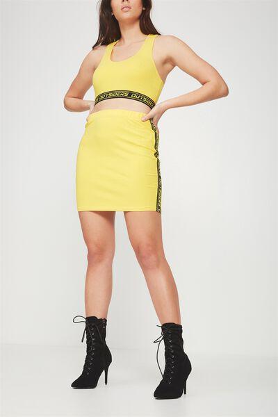 Co-Ord Tube Skirt, DANDELION _BLACK TAPE