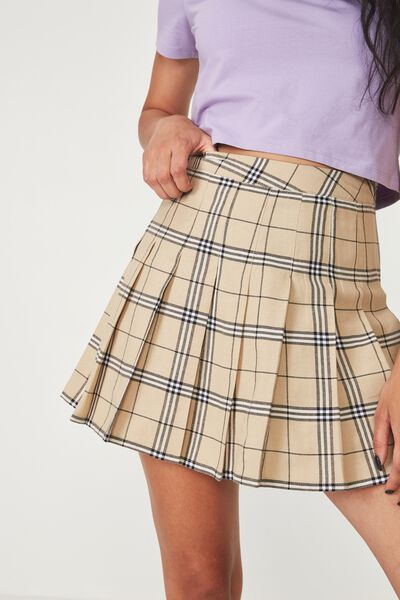 Pleated Skirt, ALICIA NEUTRAL CHECK