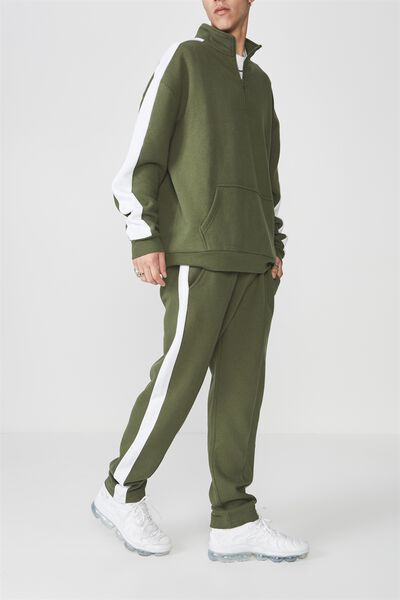 Sports Trackpants, BRONZE GREEN/WHITE STRIPE