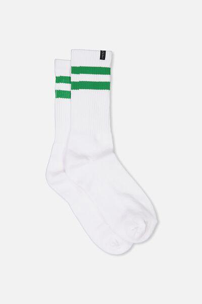 Retro Ribbed Socks, WHITE_GREEN STRIPE