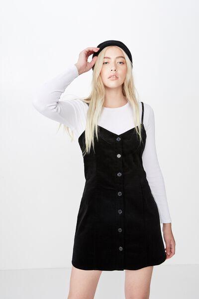 Cord Button Through Dress, BLACK