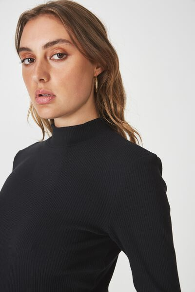 Rib Lettuce Edge Long Sleeve, BLACK
