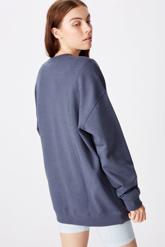 Oversized Crew Neck Sweater, CARBON BLUE