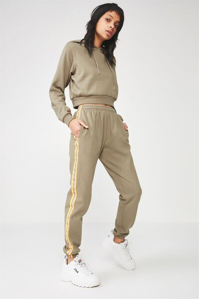 Trenton Trackpant, KHAKI/NEON ORANGE