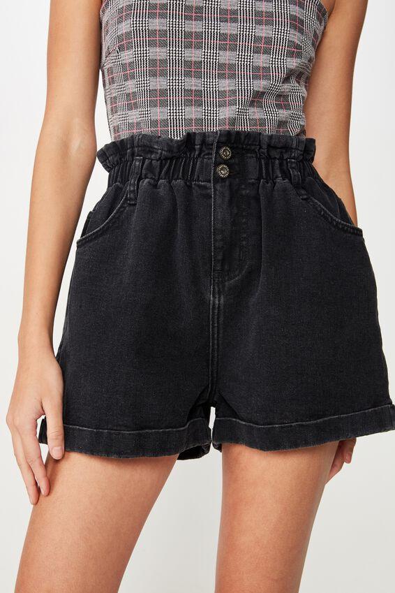Denim Paperbag Short 2, THRIFT BLACK