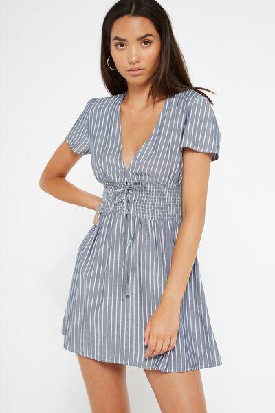 Lola Lace Up Front Dress, CHAMBRAY BLUE / WHITE STRIPE