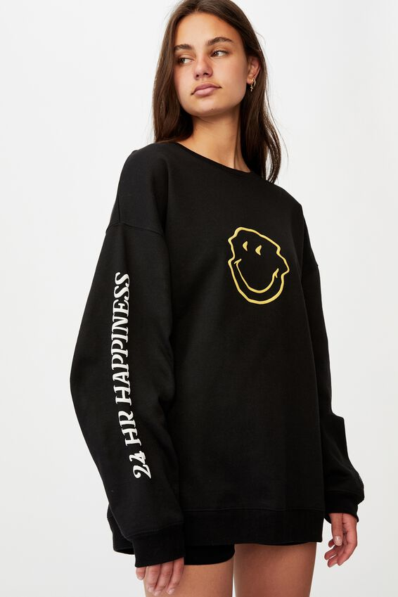 Smiley Os Graphic Crew, LCN SMI BLACK/WARPED SMILEY