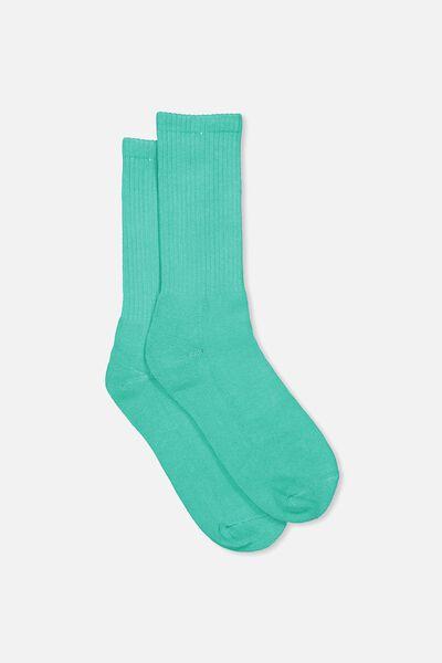 Retro Ribbed Socks, SLD PEACOCK