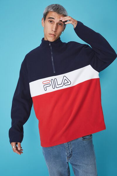 Fila Lcn Qtr Zip Polar Fleece, NAVY/WHITE/RED
