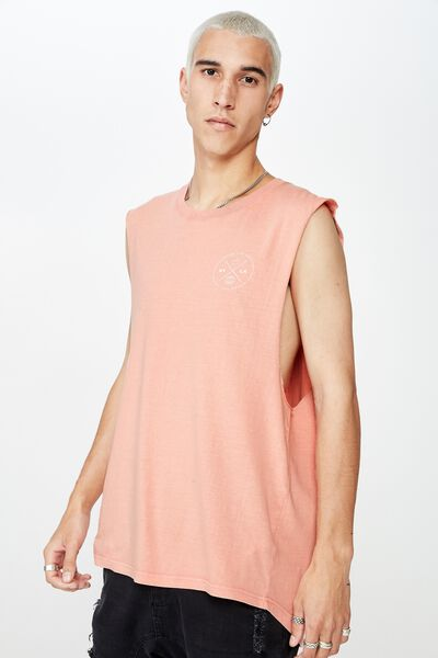 Graphic Muscle Tank, WASHED CORAL/NYLA