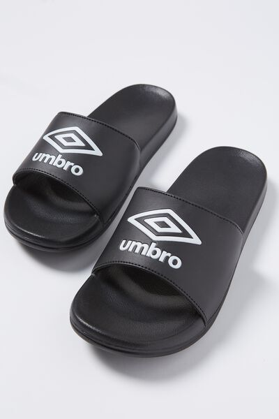 Umbro_Logo Slide, BLACK_WHITE UNISEX