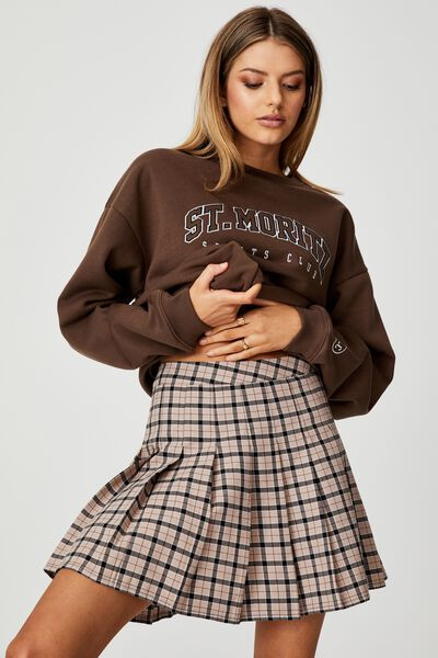 Pleated Skirt, OAKLEY CHECK_FAWN