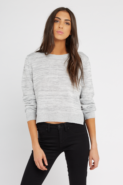 Sally Side Tie Crop, GREY/WHITE TWIST