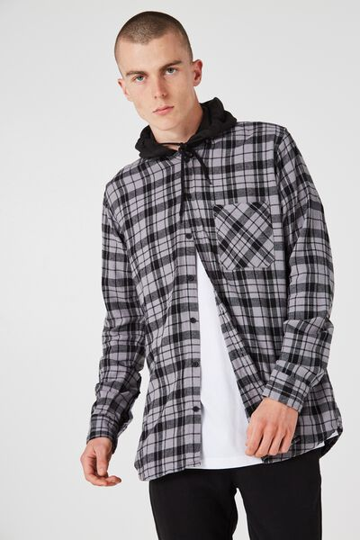 L/S Hooded Shirt, MONOTONE CHECK