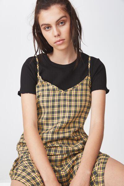Midi Slip Dress, YELLOW CHECK