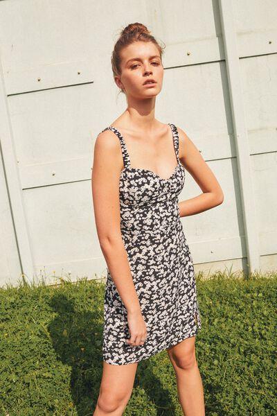 Sweetheart Mini Dress, TAYLOR DITSY BLACK