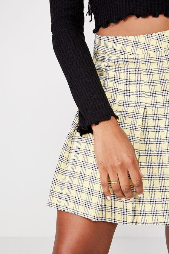 Pleated Skirt, MARA CHECK POPCORN