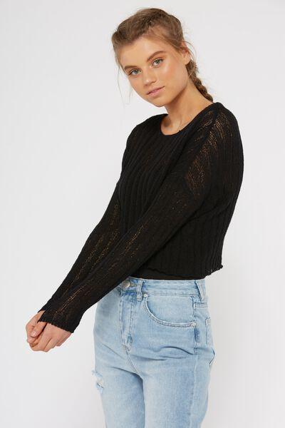 Rachel Ribbed Crop Knit, BLACK