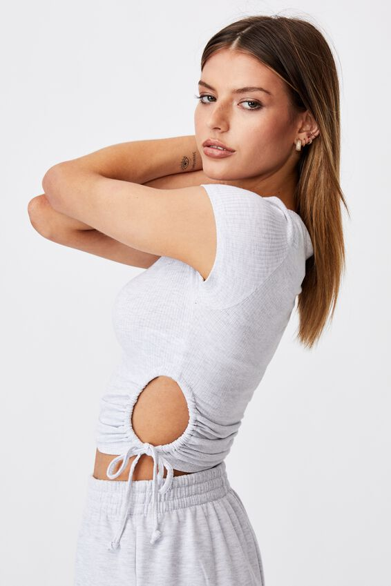 Short Sleeve Cut Out Top, SILVER MARLE