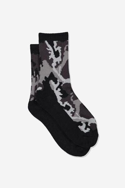 Retro Sport Sock, CAMO_MONO