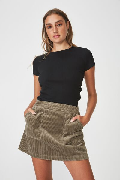 Short Sleeve Rib T Shirt, BLACK