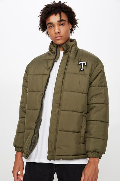 Personalised Mens Puffer Jacket, OLIVE NIGHT