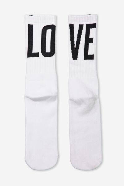 Retro Ribbed Socks, LOVE BLACK