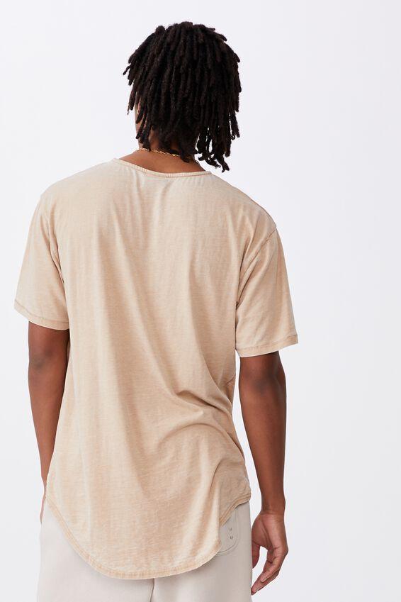 Longline Curved Washed T Shirt, DIRT OAK
