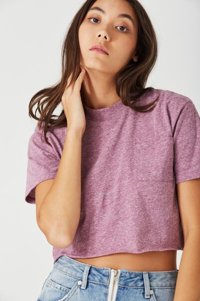 So Soft Crop Hi Neck Tee, PLUM CASPIA