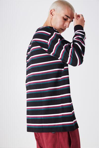 Ls Shaded Stripe Tee, GRN/PPL/WHT/BLK