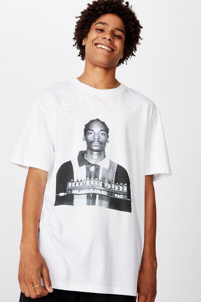 Regular License T Shirt, WHITE/SNOOP DOG MUGSHOT