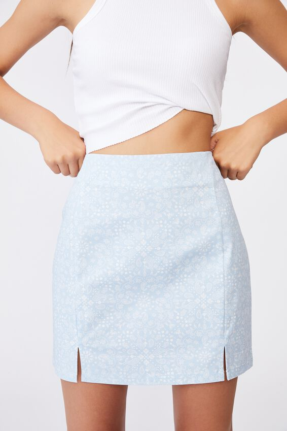 Double Split Mini Skirt, BANDANA SKYWAY DITSY