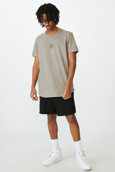 Curved Graphic T Shirt, GREY STONE/24 HOUR EDIT