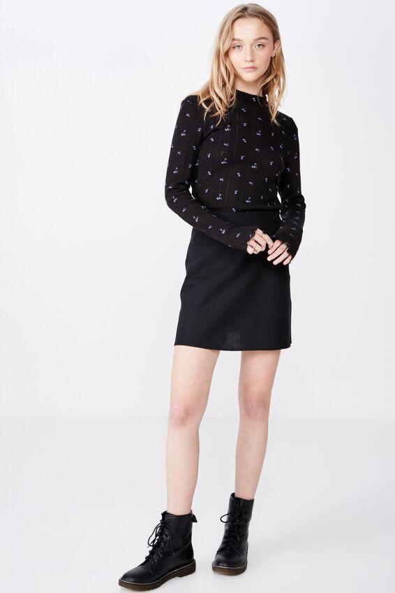 A Line Check Skirt, BLACK