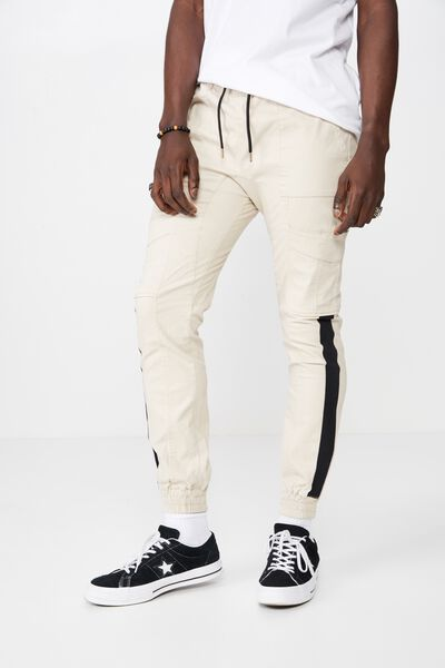 Side Stripe Panel Cuffed Pant, LIGHT STONE