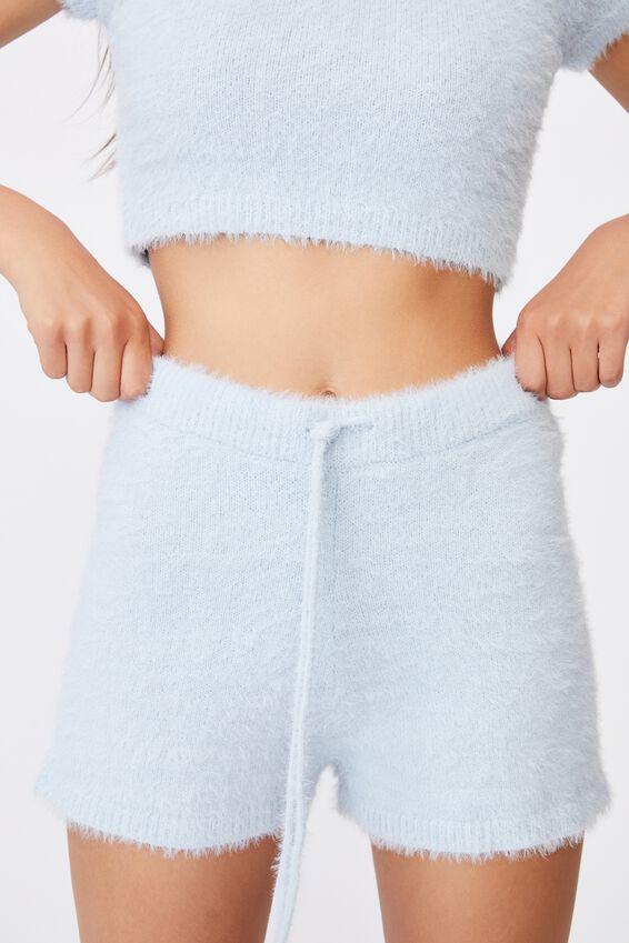 Fluffy Knit Short, SKYWAY BLUE