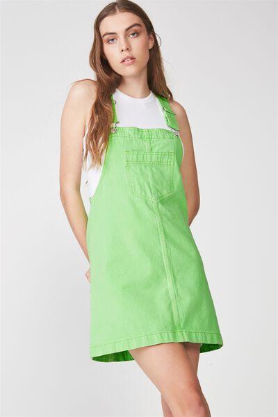 Classic Denim Overall Dress, NEON GREEN