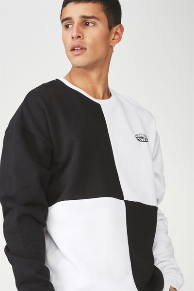 Oversized Graphic Crew, BLACK/WHITE/VICE CHECK