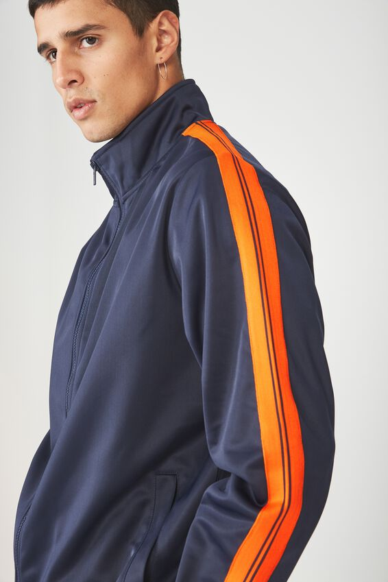 Tricot Zip Through Jacket, NAVY/ORANGE