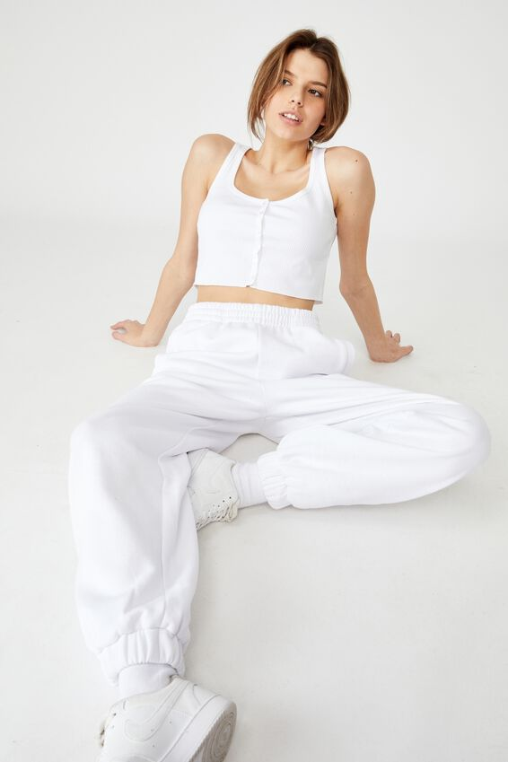 Super Slouchy Trackpant, WHITE