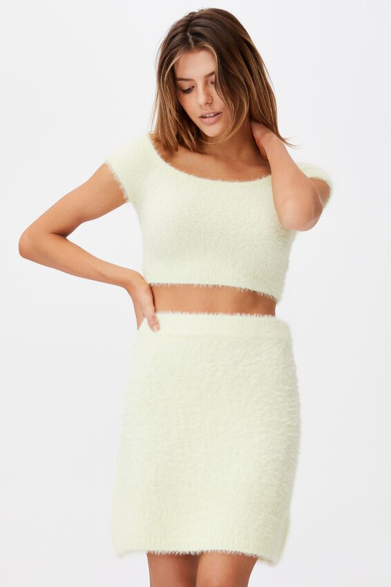 Knit Mini Skirt, LIME CREAM