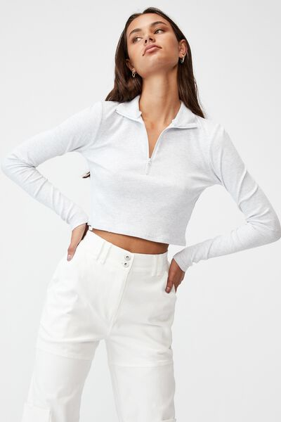 Qtr Zip Long Sleeve Top, SILVER MARLE