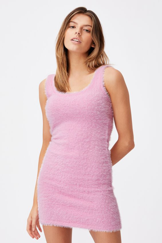 Fluffy Knit Dress, BABE PINK